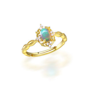 Opal Unique Engagement Ring Yellow Gold 6x4mm Oval